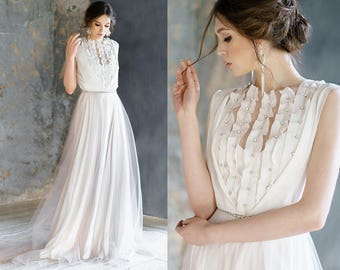 Calliope / Delicate chiffon with a soft latte shade wedding dress bohemian dress low back boho wedding dress alternative wedding dress