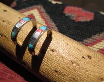 Multi- Stone and Sterling Inlay Half Hoop Earrings