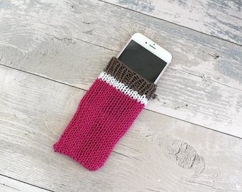 Pink Phone Case iPhone 6, Knit Phone Sock, iPod Touch 6th Generation Case, Phone Pouch, Vegan Phone Case, Mobile Phone Sleeve, Phone Cover