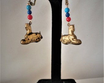Egyptian Inspired Antiqued Sphinx Coral Turquoise Lapis Earrings***