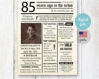 Fun facts 1932 - 85th birthday Gift for men him grandfather grandpa father in law friend uncle brother US Facts 1932 - DIGITAL FILE!