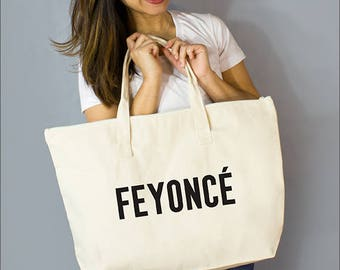 "Feyoncé Large Zip Tote: 100% Natural Cotton Canvas 22""W x 15""L x 5""D with Interior Zippered Pocket and Bottom Gusset- By Alicia Cox/ Ellafly"