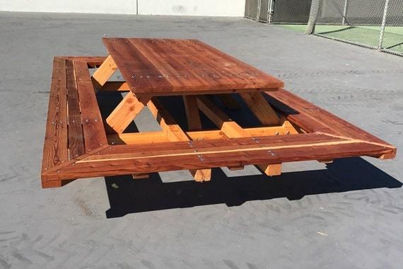 Custom Made Picnic Tables, Large Thru Bolt Picnic Tables, Redwood Picnic  Table. Wide Wrap Around Bench