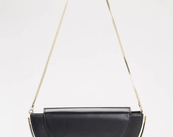 Half Moon Shoulder Bag, Half Moon Box Leather Bag, Black Leather Shoulder Bag Purse, Black Leather Purse, Black Handbag Leather, Leather Bag