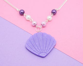 Purple Mermaid Shell Necklace // Polymer Clay, Mermaid Jewellery, Shell Charm, Mermaid Necklace. Shell Necklace, Perfect for Mermaid Lover