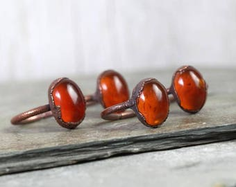 Amber Ring Electroformed Copper Ring Amber Jewelry Gemstone Amber Cabochon Polished Amber Ring