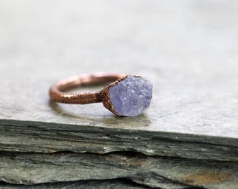 Tanzanite Ring Raw Stone Periwinkle Blue Rough Tanzanite Electroformed Copper Blue Stone Crystal Ring