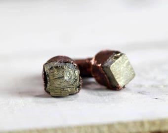 Stone Cufflinks Groomsmen Gift Graduation Pyrite Cuff Links Copper Cufflinks Electroformed Cufflinks Best Man Wedding Gift