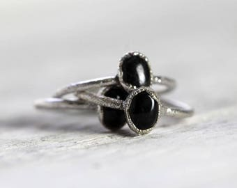 Black Obsidian Ring Electroformed Jewelry Electroformed Ring Silver Ring Black Stone Ring Simple Stone Ring