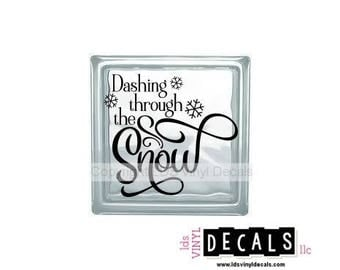 Dashing through the Snow - Winter Vinyl Lettering for Glass Blocks - Craft Decals
