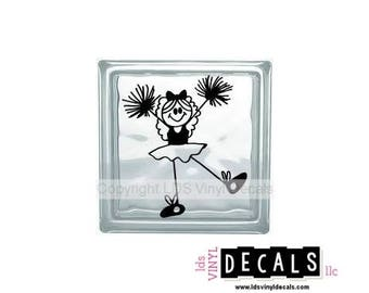 Cheer Girl - Cheer-leading, Sports and Athlete Vinyl Lettering for Glass Blocks