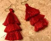 Festive Triple Tassel Earrings