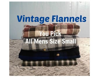 Mens Flannel Shirt, Vintage Flannel Shirt, Boyfriend Flannel Shirt, Hipster Flannels, Oversized Bridesmaids Flannel - ALL Mens Size Small