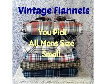 Mens Flannel Shirt, Vintage Flannel Shirt, Boyfriend Flannel Shirt, Hipster Flannels, Oversized Bridesmaids Flannel - ALL Mens Size Small