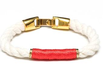 Nautical Rope Bracelet / Ivory Rope Bracelet / Gold Nautical Bracelet / Nautical Jewelry / Nautical Gift / Coral Rope Bracelet