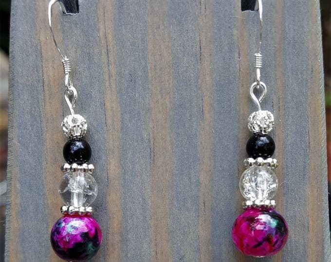 Noelle's Hot Hot Pink Earrings (One Pair, Matching Bracelet Not Included)