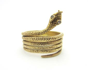 Vintage Coiled Snake Ring With Diamond Eyes 14k Yellow Gold Sz 9.25