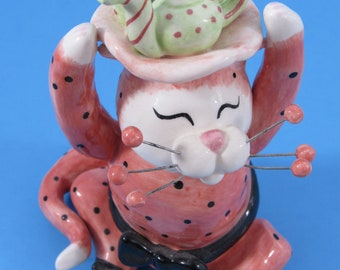 Vintage Ceramic Whimsiclay Cat Knick Knack Figurine Lacombe Collectible Cat Lover Gift Idea