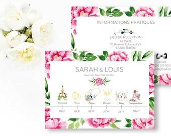 Printable peonies wedding timeline - Peonies Wedding program - Flowers Wedding timeline - Floral Romantic wedding - Illustrated Timeline