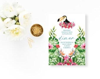 Tropical Wedding dinner invitation - Wedding dinner Invitation - Tropical Wedding Invitation - Dinner Invitation - Pineapple Tropical Leaves