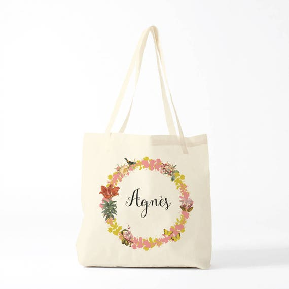 Tote Bag, Agnes, name, custom, pink, name of your choice, birth gift, canvas bag name, custom tote bag, name on a bag, purse, groceries bag.