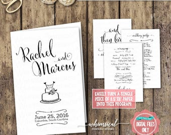 "Wedding Program ""Black & White Elegance"" (Printable File Only) Ceremony Timeline, Ceremony Program, Fun Wedding Program, DIY Wedding Program"