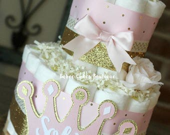 2 Tier Pink And Gold Princess Diaper Cake, Princess Baby Shower, Little  Princess,