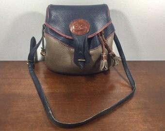 Dooney and Bourke Leather Purse, Bag, Shoulder Bag, Cinch Bag, Gray, Blue, Brown
