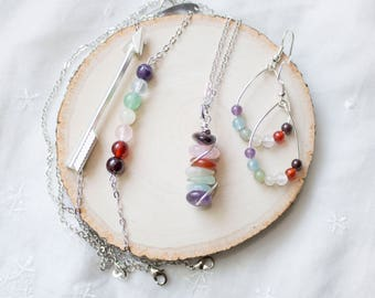 Rainbow Gemstone Jewelry Set - Rainbow Bar Jewelry for Mom Trying to Conceive - Fertility Gemstones Fertility Crystal Gift Set for Xmas Gift