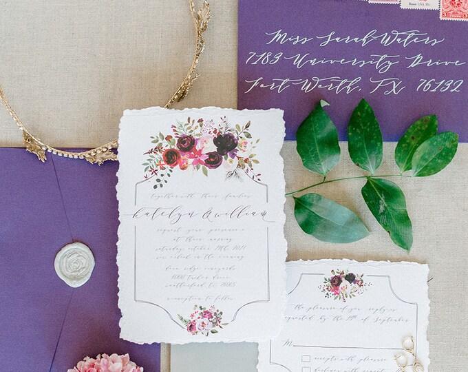 Floral Calligraphy Flowers Wedding Invitation in Pink, Purple, Champagne Gold and Marsala Burgundy — Envelope Liner, RSVP & Address Printing