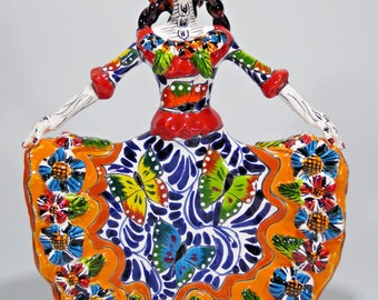 """11"""" TRADITIONAL CATRINA  mexican talavera hand painted folk art day of the dead"""