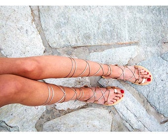 Lace up sandals, rose gold sandals,strappy sandal, genuine leather , greek sandals