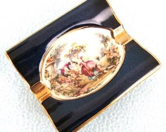 Vintage Collectible Ashtray, Carlton Ware, Table Ashtray, Georgian Scene, Traditional Vintage, Blue and Gold, Elegant Smoking, Tobacciana