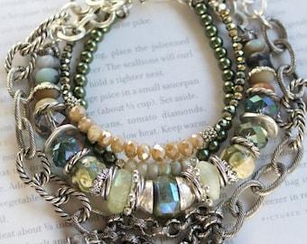 vesuvianite bracelet, aquamarine bracelet, mystic bracelet, green bracelet, bohemian bracelet, boho chic bracelet, pearl bracelet