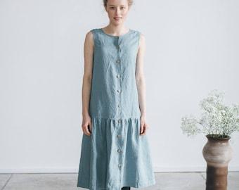 Maxi dress/ Drop ruffle dress/ Linen dress with buttons/ Long summer dress/ Simple dress/ Breastfeeding dress/ Maternity dress/ FRIDAY #5Z