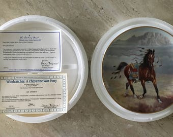 "Artist Gregory Perillo, ""War Ponies of the Plains"" Set of 8, 1991 Series E 5188, 23K Trim, Fine China Collector Plates, Native American Art"