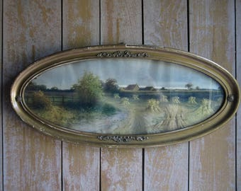 Large Antique Oval Framed Landscape Art, Shabby Chic,Vintage Rustic Farm Scene,Country Road,Farmhouse Decor,Wavy Glass,Gilt,Wall Hanging Art
