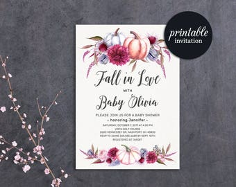 Pumpkin Baby Shower Invitation, Fall Baby Shower Invitation Printable, Fall in love Baby Shower Invitation, Autumn Baby Shower Invitation
