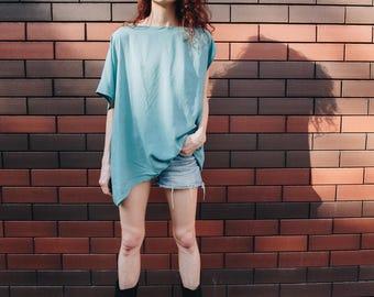 Asymmetric rayon blouse