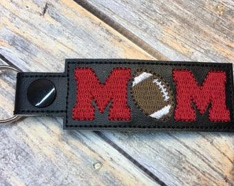 Football Mom - Key Fob In The Hoop - DIGITAL Embroidery DESIGN