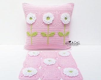 CROCHET PILLOW PATTERN - Delightful Dahlias - Crochet Cushion Pattern Granny Square Pattern, Flower crochet pattern Crocheted Pillow pattern