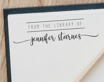 From the library of - Custom Name Stamp - This Book Belongs to - Handmade Stamp - Teacher stamp - Classroom stamp -Custom Rubber Stamp RE972