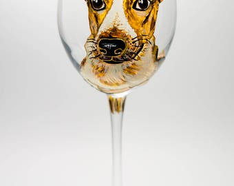 Personalized Pet Gift Custom Dog Wine Glass, Portrait from Photo Dog, Pet Loss Gift, Hand Painted Wine Glasses