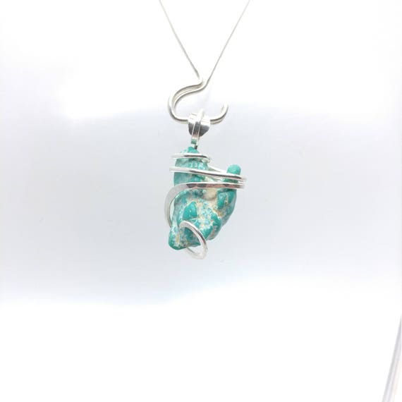 Raw Turquoise Pendant | Turquoise Necklace | Silver Pendant | Turquoise Bonanza Mine | December Birthstone | Gift for Her | Raw Stone