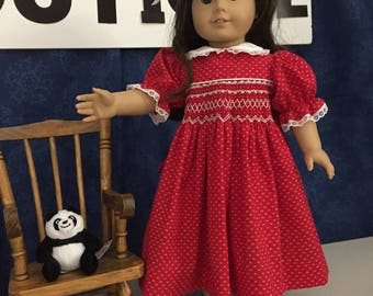 "Bright red handsmocked dress for 18"" doll"