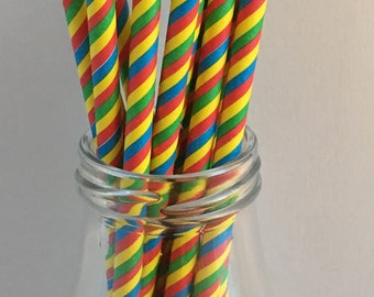 Yellow, Blue, Red, Green Stripes Paper Straws Mix, Mason Jar Straws, Party Decor, Straws, Multicolor