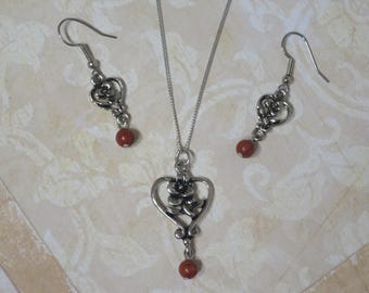 Rose in heart necklace with Red Jasper- matching earrings CCS167