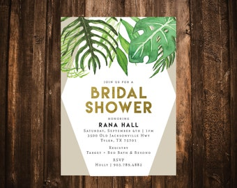 Palm Leaf Geometric Bridal Shower Invitation; Green & Gold; Printable or set of 10
