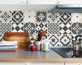 Grey Tile Decals - Tile Stickers Set - Geometric Traditional Tiles Kit - Tiles for Kitchen - Kitchen Backsplash - PACK OF 24