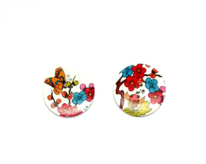 2 x 40mm Fish and Butterfly wooden button